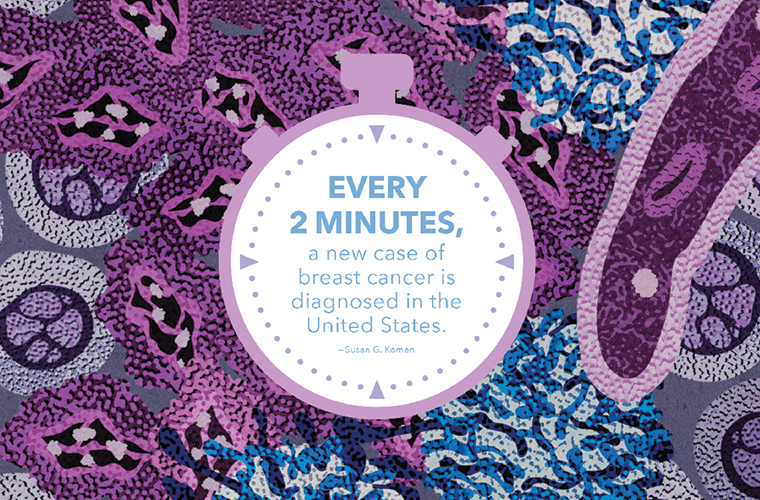 An illustration by Jenn Liv for Genentech shows blue cancerous cells amid a sea of purple healthy cells.