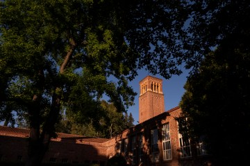 A tall brick building glows in the late afternoon sunshine with trees in the foreground.