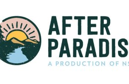 The logo for After Paradise, A Production of NSPR includes the program name and an image of a sun rising over a river.