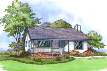 A rendering of a small cottage.