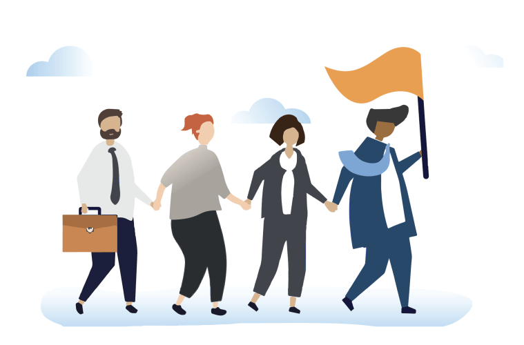 A cartoon of people walking behind someone holding a flag