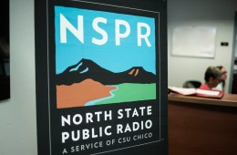 A sign says NSPR, North State Public Radio