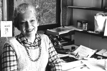 portrait of Ginger Farrer in her campus office.