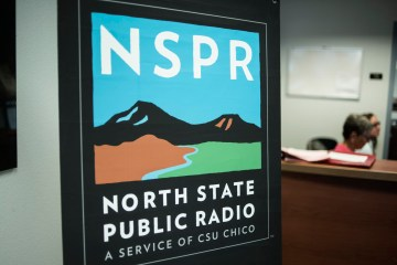 A sign for North State Public Radio