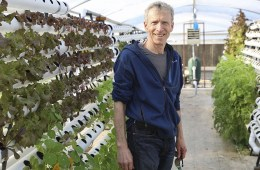 Lee Altier stands among the plants in the aquaponics garden at the University Farm