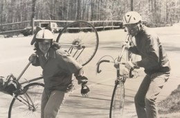 President Gayle Hutchinson and her brother pose with their bikes on a cross-country trip.