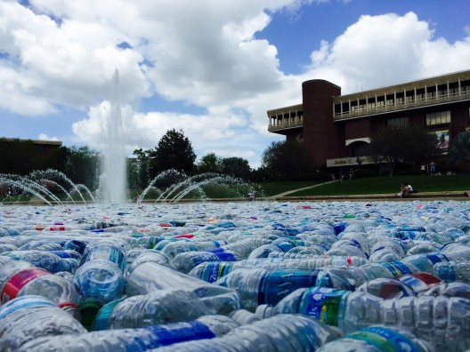 UCF Fills Reflecting Pond With Thousands of Water Bottles