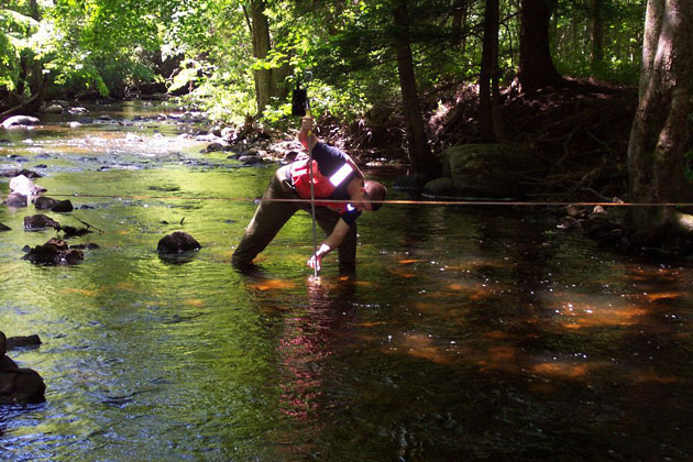 UConn carefully monitors flow in the Fenton River near one of its two wellfields, using among other things an automatic USGS stream gauge installed in the river just upstream of the wells.