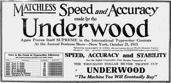 An Underwood ad from 1913, boasting about the company's perennial victories in typewriting competitions.