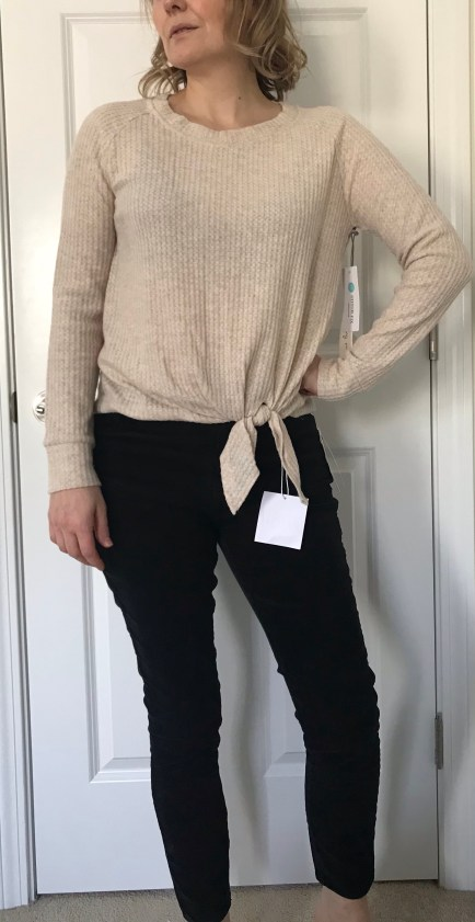 Nine Britton Billie Tie Front Brushed Knit Top
