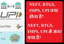 NEFT RTGS IMPS UPI