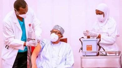 Nigerian President Muhammadu Buhari receives first shot AstraZeneca COVID-19 vaccine in Abuja