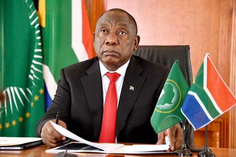 African Union Chair and President of South Africa His Excellency Cyril Ramaphosa addressing the opening session of the AU and Africa Centres for Disease Control and Prevention (CDC) virtual conference on Africa's Leadership role in COVID-19 Vaccine Development and Access on June 24
