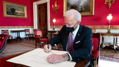 President Joe Biden signs the commission for Avril Haines to be the Director of National Intelligence Thursday