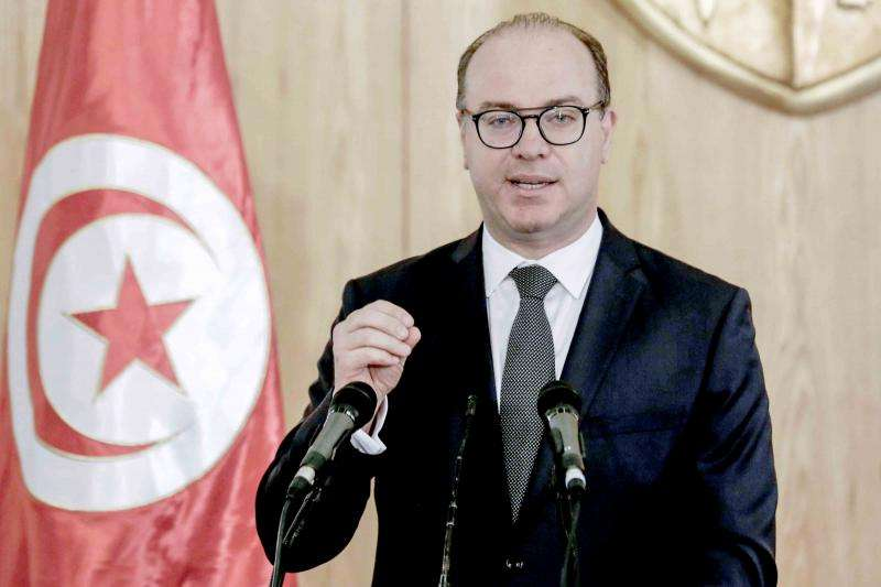 Tunisian Prime Minister Elyes Fakhfakh speaks during a news conference. (AFP)