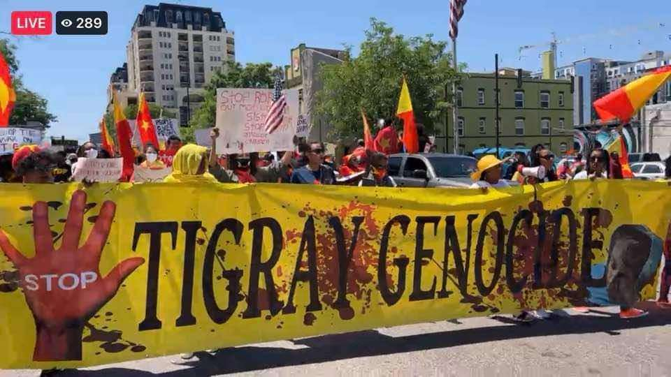 Massive Tegaru protest in Denver against the ongoing #TigrayGenocide by Eritrea and Ethiopia.