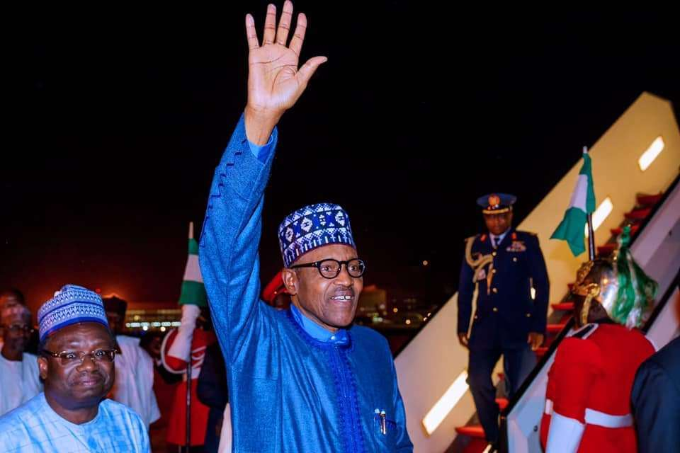 President Buhari arrives Abuja after his participation at the UK-Africa Investment Summit on 23rd Jan 2020