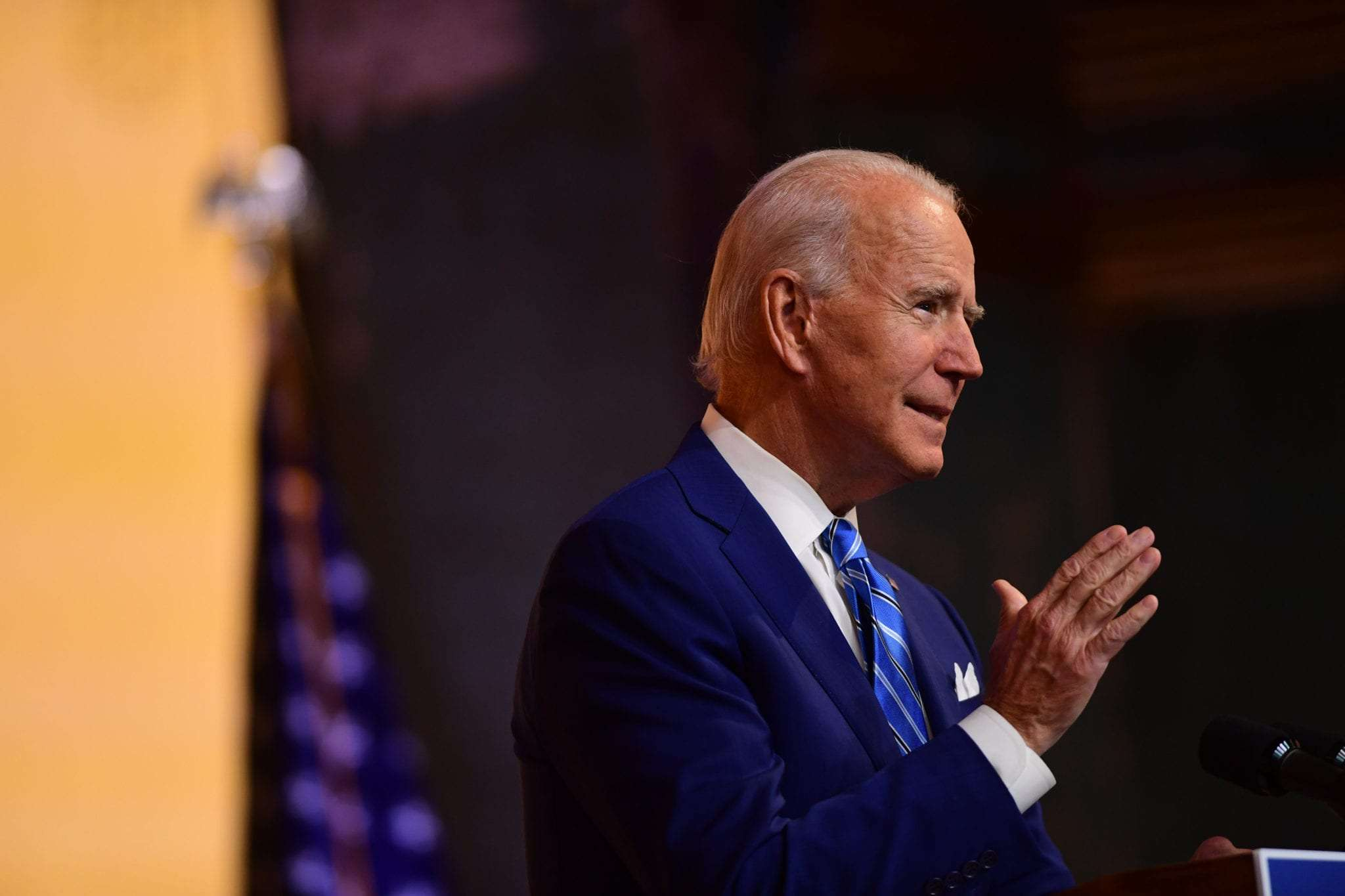President-elect Joe Biden delivers a Thanksgiving address at the Queen Theatre on November 25