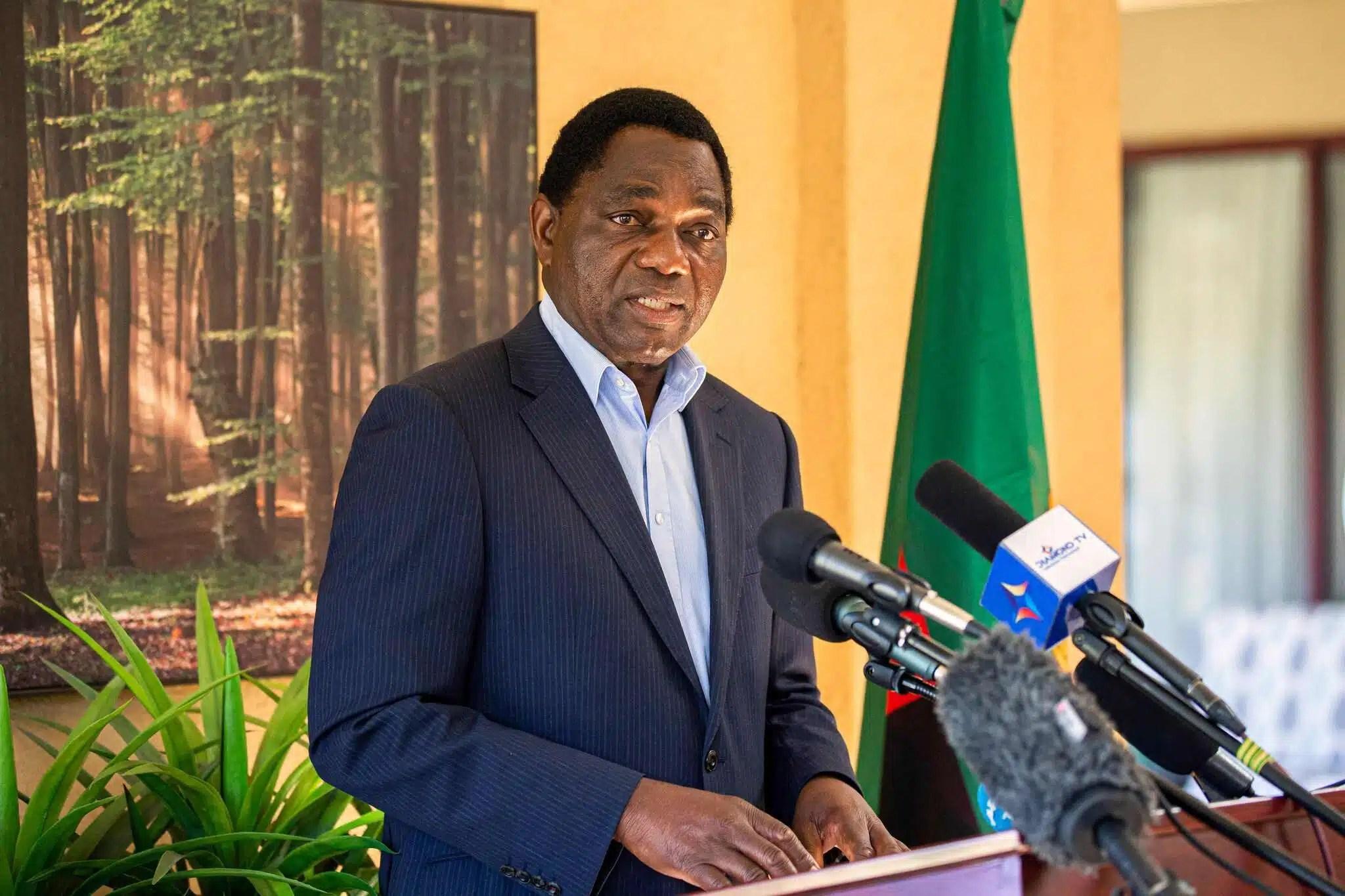 Hakainde Hichilema speaking at his home in Lusaka