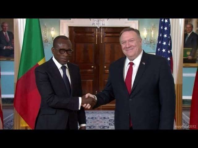 President Talon of Benin (left) meets with U.S. Secretary of State Mike Pompeo in Washington D.C. on Tuesday January 28