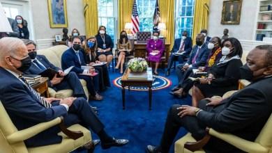 President Joseph R. Biden Jr. hosts President Uhuru Kenyatta at the Oval Office of the White House on Thursday, October 14, 2021. Official White House photograph