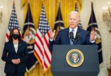 President Joe Biden, joined by Vice President Kamala Harris, delivers remarks on the passing of the bipartisan Infrastructure Investment and Jobs Act, Tuesday, August 10, 2021, in the East Room of the White House. (Official White House Photo by Adam Schultz)