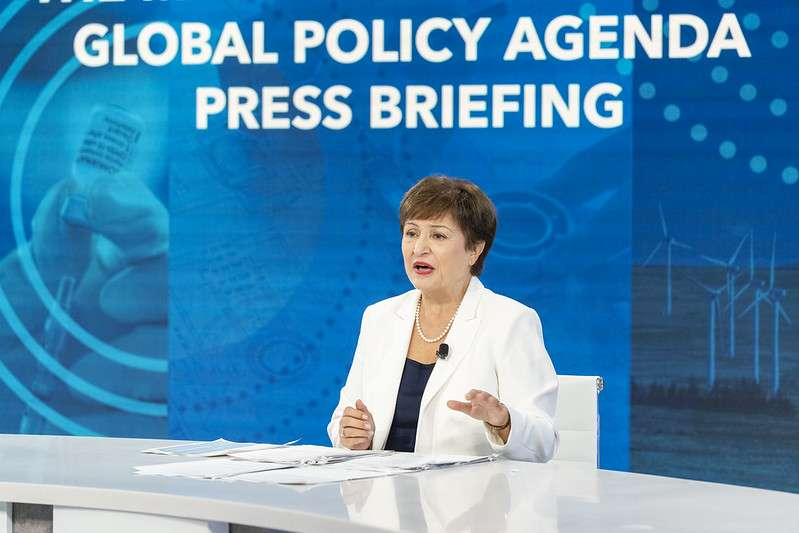 Managing Director Kristalina Georgieva conducts her press conference during the 2021 Annual Meetings at the International Monetary Fund. IMF Photo/Cory Hancock 13 October 2021