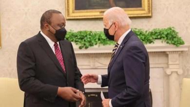President Uhuru Kenyatta with US President Joe Biden at the White House. Photo/Courtesy.
