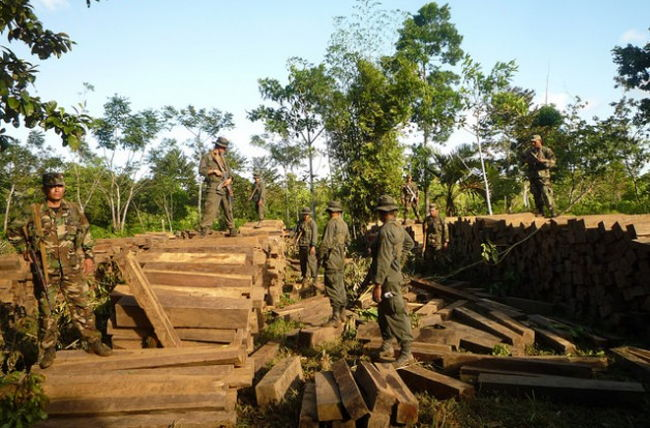 Troops from the special military battalion set up to protect Nicaragua's forests confiscate an ilegal shipment of logs in the Bosawas Biosphere Reserve. Credit: José Garth Medina/IPS