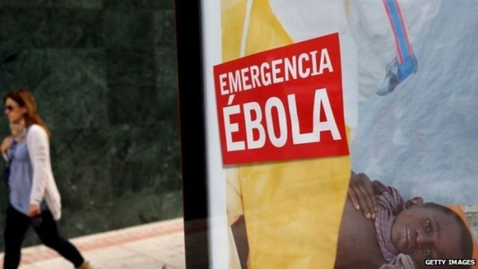Ebola sign in Spain to remind people of the dangers.