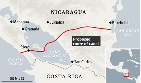 The route of the canal will cross Lake Nicaragua.