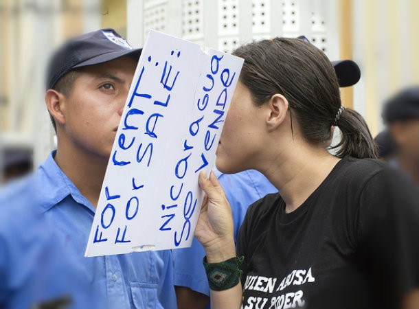 Protester accusing Managua of selling out Nicaragua's interests.