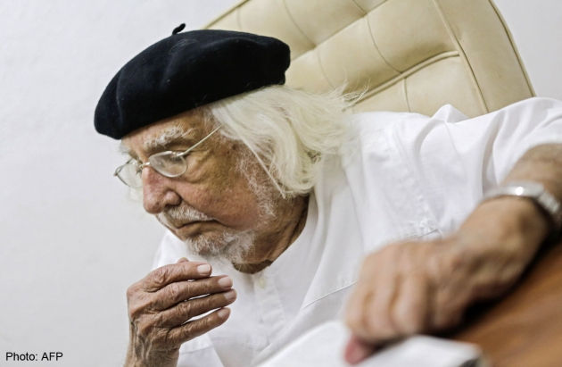 Nicaraguan Priest Ernesto Cardenal gestures at his office in Managua on January 19, 2015. Cardenal, who celebrates his 90th birthday Tuesday, said he regrets that President Daniel Ortega betrayed the Sandinista Revolution.