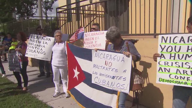 Democracy Movement protests Nicaragua's military attack on Cubans