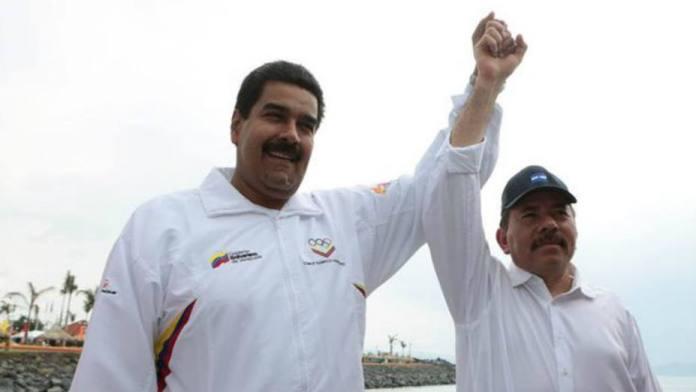 The president of Venezuela, Nicolas Maduro (left) and Daniel Ortega (right) of Nicaragua
