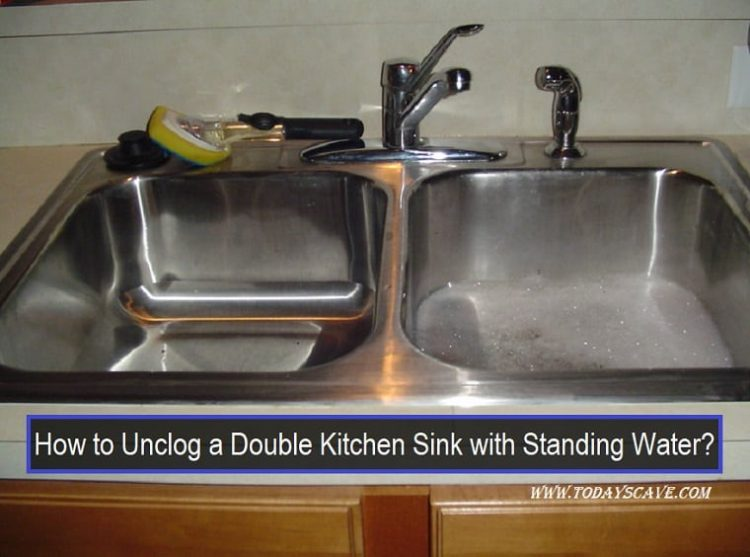 double kitchen sink with standing water