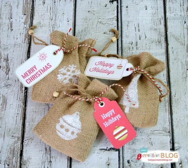DIY Stamped Holiday Burlap Bags | TodaysCreativeBlog.net