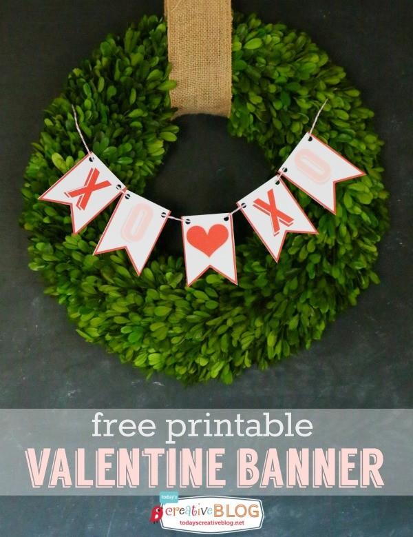 free printable valentine banner - TodaysCreativeBlog.net