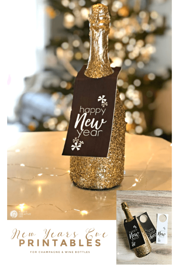Glittered Champagne bottle with bottle hanger