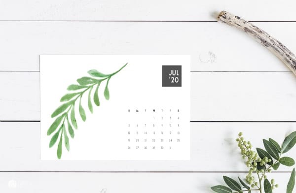 2020 Calendar with fern design