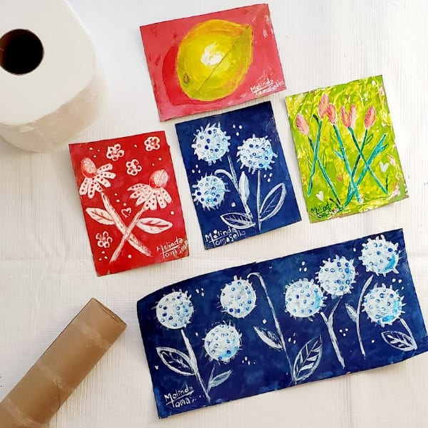 Painted Art on cardboard recycled from Toilet paper tubes