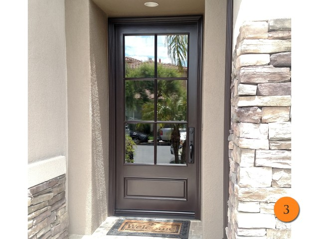 3 42 x 96 jeld wen aurora a5506 fiberglass entry door insulated clear glass with 6 lite sdl installed in san clemente ca