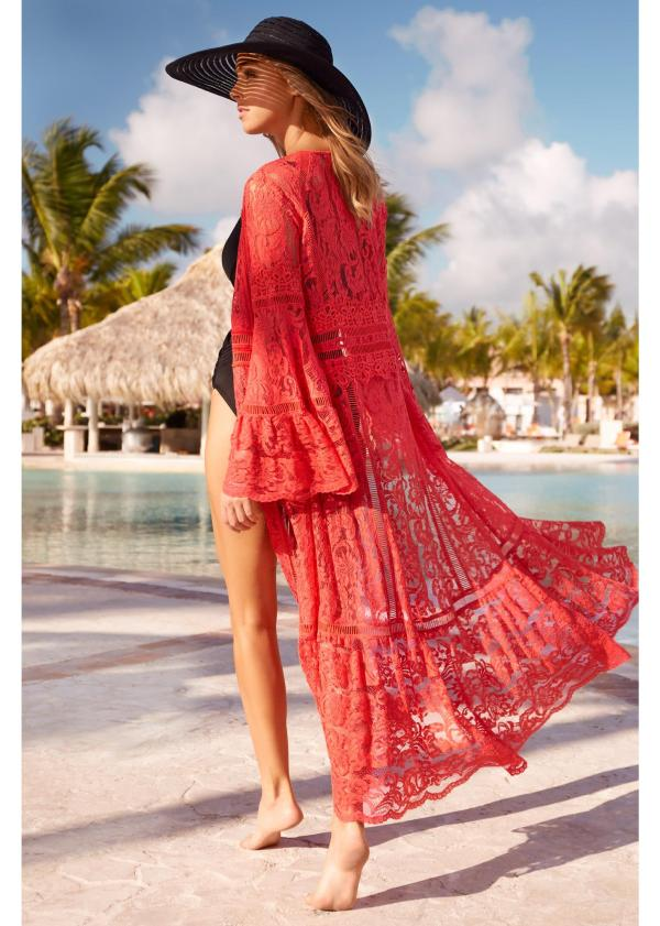Coral Long Lace Swimsuit Cover Up