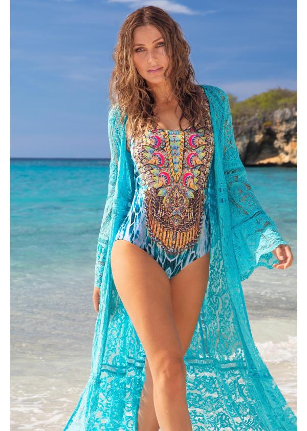 Turquoise Print One Piece Swimsuit