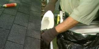 Cleaning gutters with scoop
