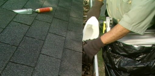 Using a homemade scoop from an antifreeze jug to clean gutters