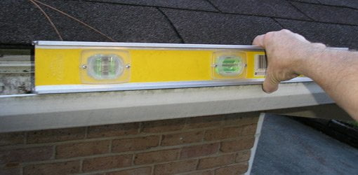 Using level to check slope on gutter