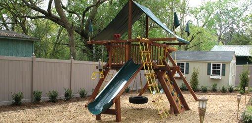 Childen's playset in backyard