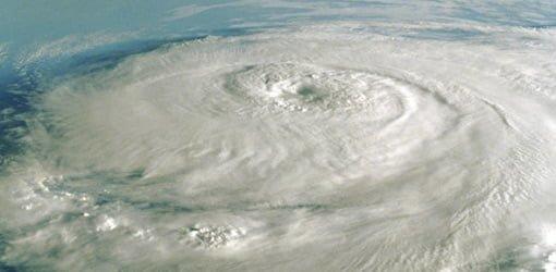 Satellite image of hurricane.