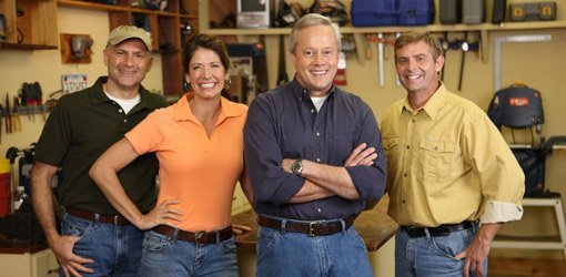 The cast of Today's Homeowner: Joe Truini, Jodi Marks, Danny Lipford, and Allen Lyle.